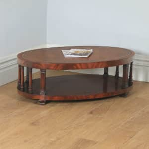 Vintage English Georgian Style Flame Mahogany & Leather Oval Coffee Table (Circa 1970) - yolagray.com
