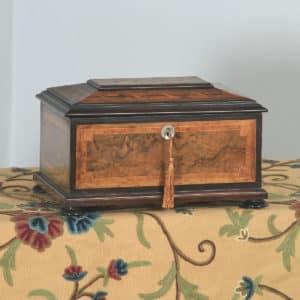 Antique German Marquetry Inlaid Burr Walnut, Ebony & Satinwood Jewellery / Sewing Box (Circa 1860) - yolagray.com
