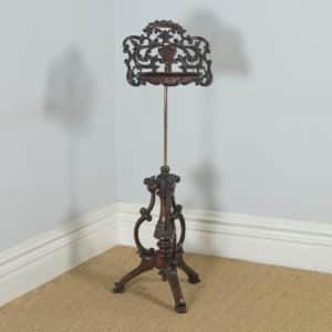 Antique English Victorian Rococo Mahogany & Brass Adjustable Music & Book Stand (Circa 1860) - yolagray.com