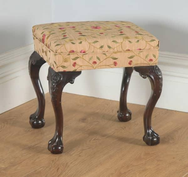 Antique English Georgian Chippendale Style Mahogany Upholstered Stool (Circa 1880) - yolagray.com