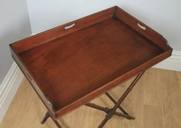 Antique English Georgian Regency Mahogany Butlers Drinks Tray Table & Stand with Large Proportions (Circa 1830) - yolagray.com