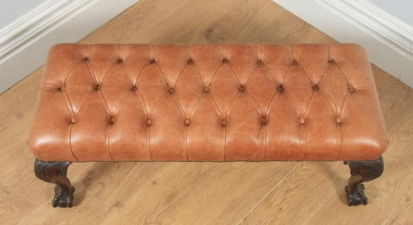 Antique English Georgian Chippendale Style Mahogany & Tan Brown Buttoned Leather Ottoman Duet Stool (Circa 1880) - yolagray.com