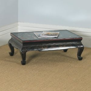 Antique Oriental Victorian Ebony Black Lacquered Glass Top Inlaid Opium / Coffee Table (Circa 1840) - yolagray.com