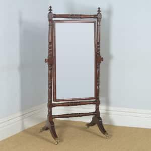 Antique English William IV Mahogany Floor Standing Rectangular Cheval / Dressing Mirror (Circa 1830) - yolagray.com