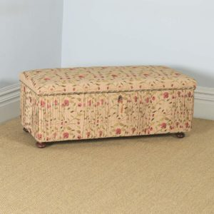 Antique English Victorian Mahogany Upholstered Ottoman Chest / Trunk (Circa 1860) - yolagray.com