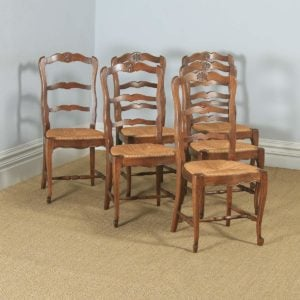 Antique French Set of 6 Six Louis XV Style Oak Ladder Back Kitchen Dining Chairs (Circa 1910) - yolagray.com