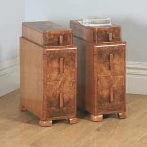 Antique English Pair of Art Deco Burr Walnut Bedside Chests Cupboards Tables Nightstands (Circa 1930) - yolagray.com
