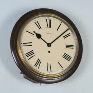 "Antique 15"" Mahogany Smiths Railway Station / School Round Dial Wall Clock (Time Piece / Timepiece) - yolagray.com"