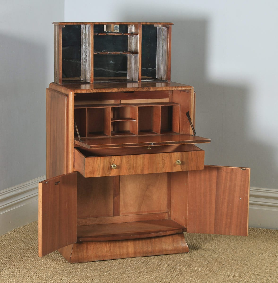 Antique English Art Deco Burr Walnut Cocktail Bow Front Cabinet by F.H. Marshall (Circa 1940) - yolagray.com