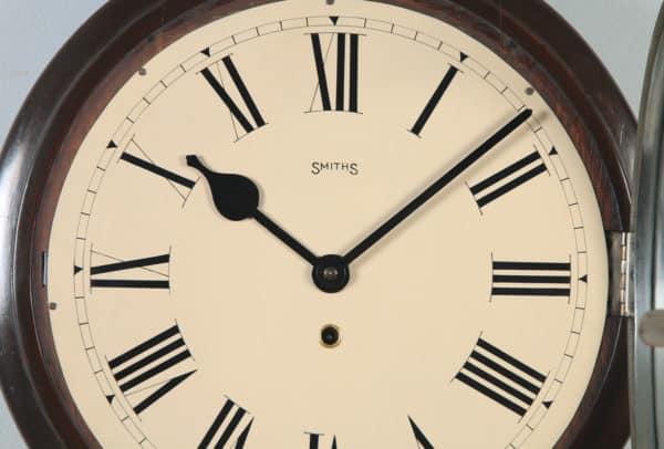 "Antique 15"" Mahogany Smiths Railway Station / School Round Dial Wall Clock (Time Piece / Timepiece) - yolagray.com"