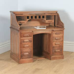 "Antique English Edwardian 4ft"" Solid Oak Roll Top Pedestal Office Desk (Circa 1910) - yolagray.com"