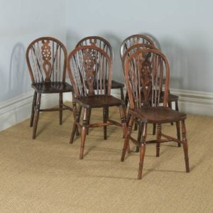 English Set of Six Ash, Beech & Elm Windsor Wheel Back Country Kitchen Chairs (Circa 1950) - yolagray.com