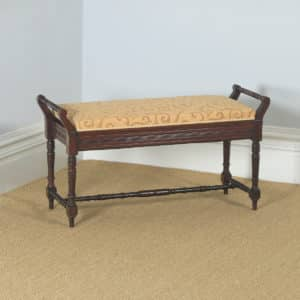 Antique English Victorian Mahogany Upholstered Piano / Music / Duet Stool (Circa 1890) - yolagray.com