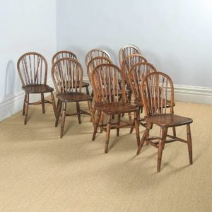 Antique Set of Ten 10 Victorian Ash & Elm Windsor Stick & Hoop Back Kitchen Chairs (Circa 1900) - yolagray.com
