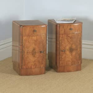 Antique English Pair of Art Deco Burr Walnut Bow Front Bedside Cupboards (Circa 1930) - yolagray.com