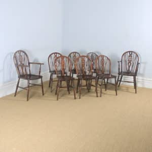 Antique English Set of 8 Eight Ash, Beech & Elm Windsor Wheel, Stick & Hoop Back Kitchen Dining Chairs (Circa 1940 - 1950) - yolagray.com