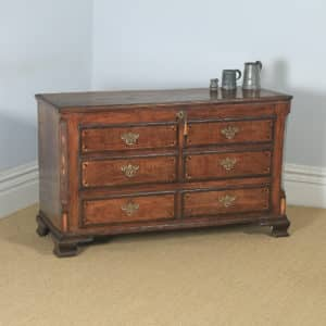 Antique English Georgian Inlaid Oak Mule Chest / Blanket Box (Circa 1780) - yolagray.com