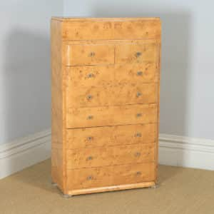 Antique Scandinavian Art Deco Birds Eye Maple Tallboy Chest of Drawers (Circa 1930) - yolagray.com