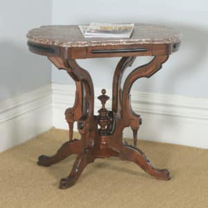 Antique English Aesthetic Teak & Marble Top Occasional Side Basket Base Table (Circa 1890) - yolagray.com