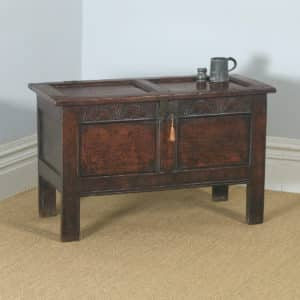 Antique English 18th Century Georgian Oak Joined & Panelled Coffer Chest Blanket Box Trunk (Circa 1730) - yolagray.com