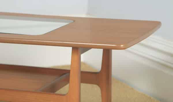 "Vintage Schreiber ""Aeroplane"" Danish Style Teak & Glass Rectangular Coffee Table (Circa 1970) - yolagray.com"