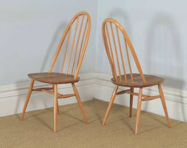 Vintage Set of Elm Blonde Ercol Quaker Drop Leaf Kitchen Dining Table & Four Stick / Hoop Back Kitchen Dining Chairs (Circa 1960) - yolagray.com