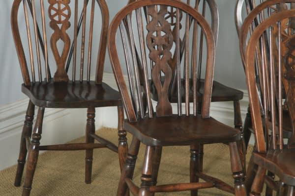 English Set of Six Ash, Beech & Elm Windsor Wheel Back Country Kitchen Chairs (Circa 1950) - yolagray.com