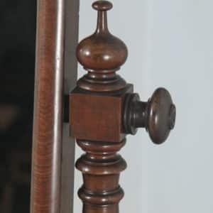 Antique English Victorian Flame Mahogany Floor Standing Rectangular Cheval / Dressing Mirror (Circa 1860) - yolagray.com
