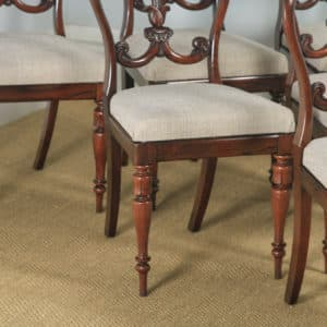 Antique Set of 6 Six English William IV Rosewood Carved Dining Chairs (Circa 1835) - yolagray.com