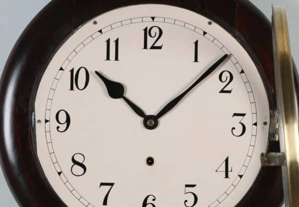 Antique 16″ Mahogany Ansonia Railway Station / School Round Dial Wall Clock (Timepiece) - yolagray.com