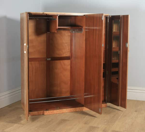Antique English Art Deco Burr Walnut Six Piece Bedroom Suite by M. P. Davis Furniture of London (Circa 1930) - yolagray.com