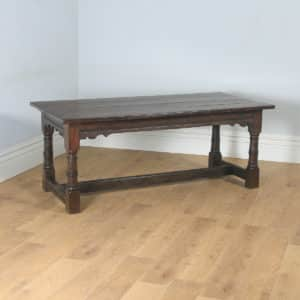 "Antique English 17th Century Charles II 6ft 3"" Solid Oak Farmhouse Kitchen Refectory Dining Table (Circa 1680) - yolagray.com"