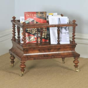 Antique English Victorian Burr Walnut Canterbury Magazine Rack Tidy (Circa 1850) - yolagray.com