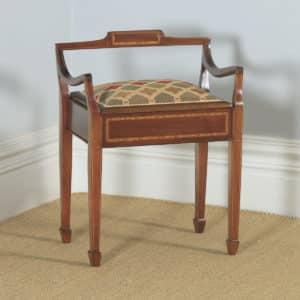 Antique English Edwardian Mahogany & Satinwood Inlaid Low Back Piano Stool (Circa 1910) - yolagray.com