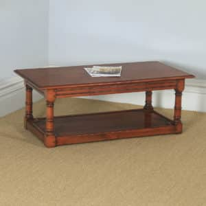 Vintage English 18th Century Style Cherry Wood Rectangular Coffee Table (Circa 1980) - yolagray.com