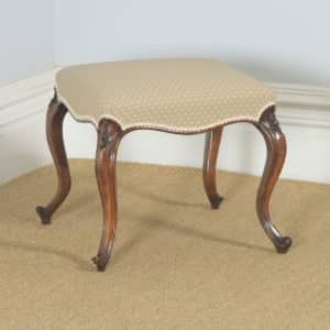 Antique English Victorian Walnut Upholstered Dressing / Foot Stool (Circa 1870) - yolagray.com
