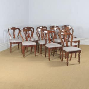 Antique English Victorian Set of 12 Twelve Mahogany Balloon Spear Back Dining Chairs (Circa 1870) - yolagray.com