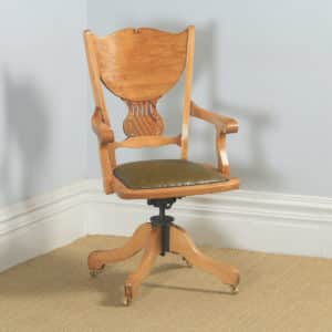 Antique American Edwardian Art Nouveau Birch Revolving Office Desk Arm Chair J.S. Ford, Johnson & Co (Circa 1910) - yolagray.com
