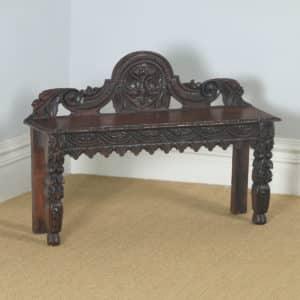 Antique English Victorian Gothic Carved Oak Hall / Window Bench Seat Stool (Circa 1880) - yolagray.com