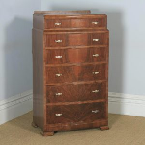Antique English Art Deco Bow Front Burr Walnut Bedroom Chest of Drawers / Tallboy (Circa 1930) - yolagray.com