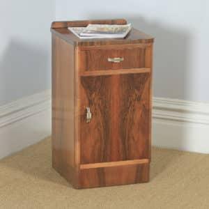 Antique English Art Deco Figured Walnut Bedside Cupboard (Circa 1930) - yolagray.com