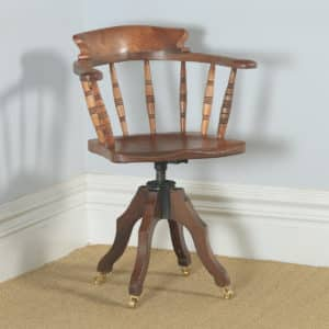 Antique English Victorian Solid Elm Revolving Office Desk Arm Chair by Glenisters of High Wycombe (Circa 1880) - yolagray.com