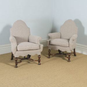 Antique English Pair of Queen Anne Style Grey Upholstered Beech Arm Chairs (Circa 1900) - yolagray.com