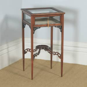 Antique English Edwardian Chippendale Style Carved Solid Mahogany Glass Bijouterie Display Cabinet Table (Circa 1910) - yolagray.com