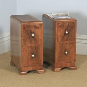 Antique English Pair of Art Deco Figured Walnut Bedside Chests (Circa 1930) - yolagray.com