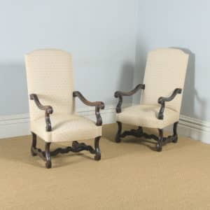 Antique French Pair of Solid Walnut Fauteuil Upholstered Armchairs (Circa 1880) - yolagray.com