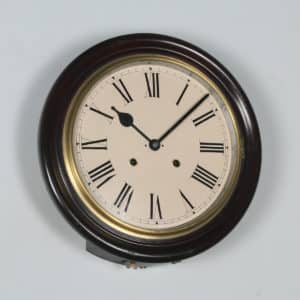 "Antique 16"" Seikosha Mahogany Railway Station / School Round Dial Wall Clock (Chiming / Striker) - yolagray.com"