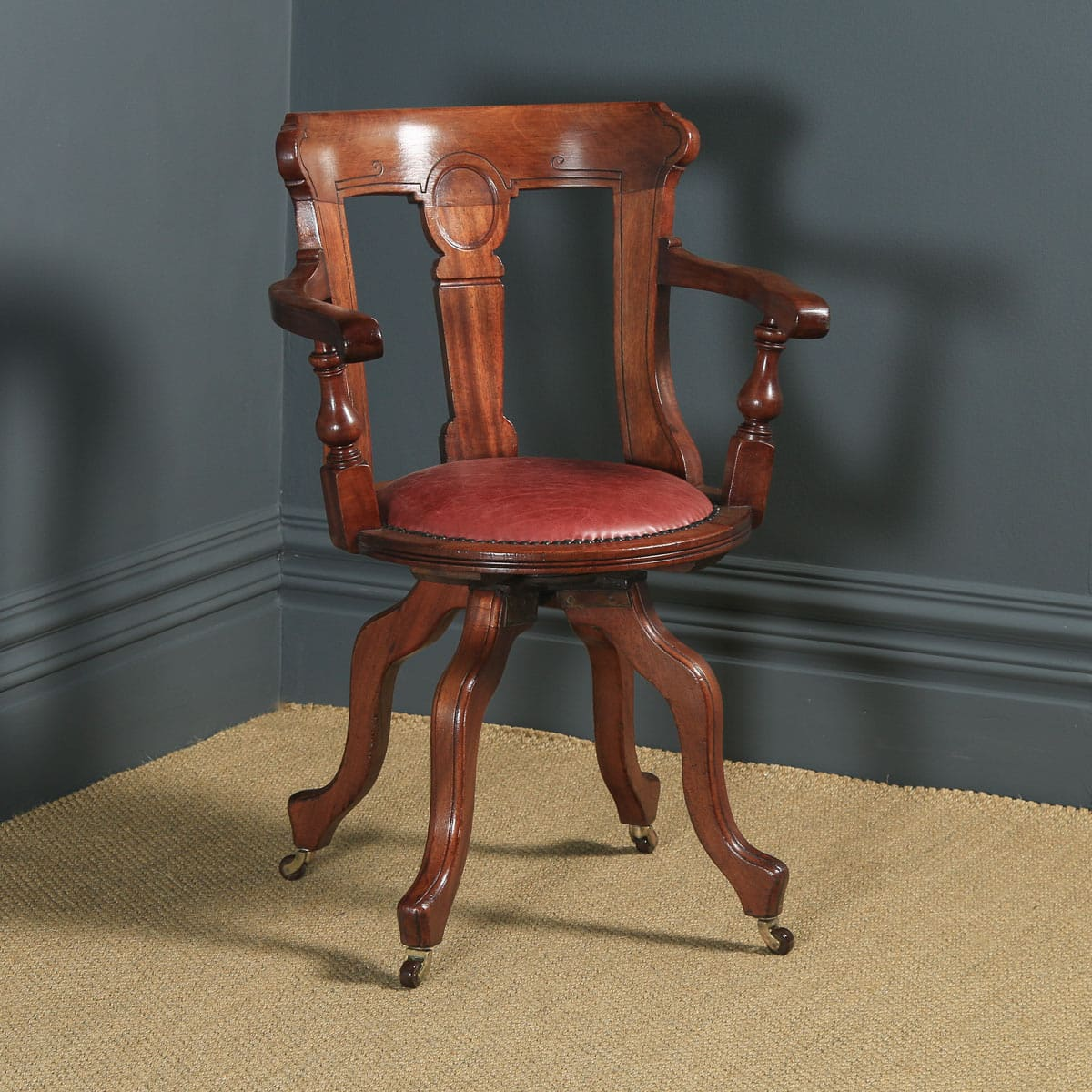 Swivel Desk Chair Walnut Leather English Victorian Yola Gray Antiques