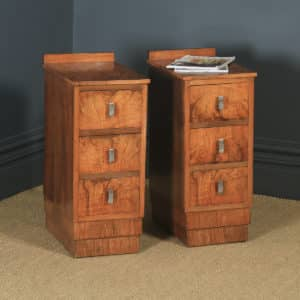 Antique English Pair of Art Deco Figured Walnut Bedside Chests / Tables (Circa 1930) - yolagray.com