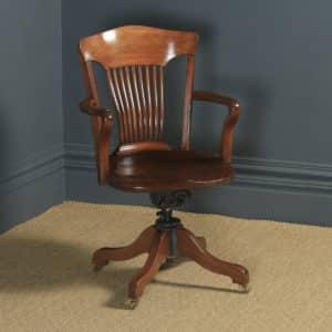 Antique English Edwardian Solid Walnut Revolving Office Desk Arm Chair (Circa 1910) - yolagray.com